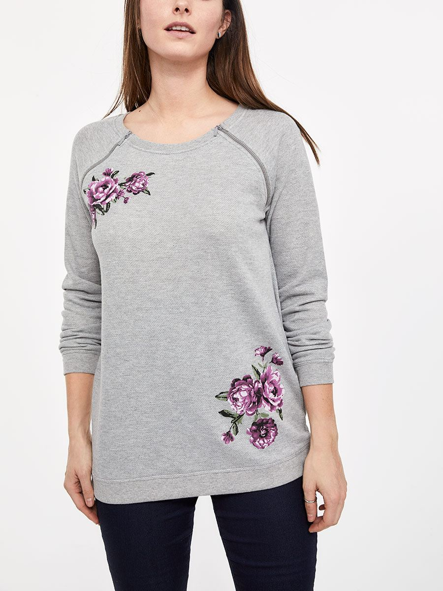 c348a83138040 Printed Long Sleeve French Terry Nursing Top | Thyme Maternity