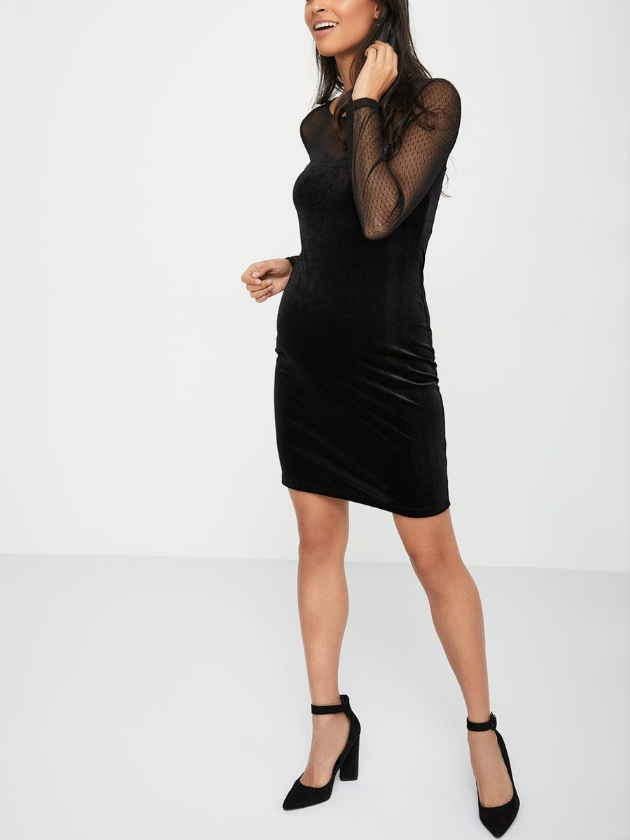 Stork & Babe - Long Sleeve Velvet Maternity Dress with Mesh