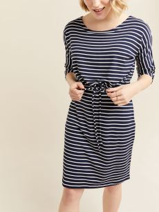 Striped Dolman Sleeve Nursing & Maternity Dress