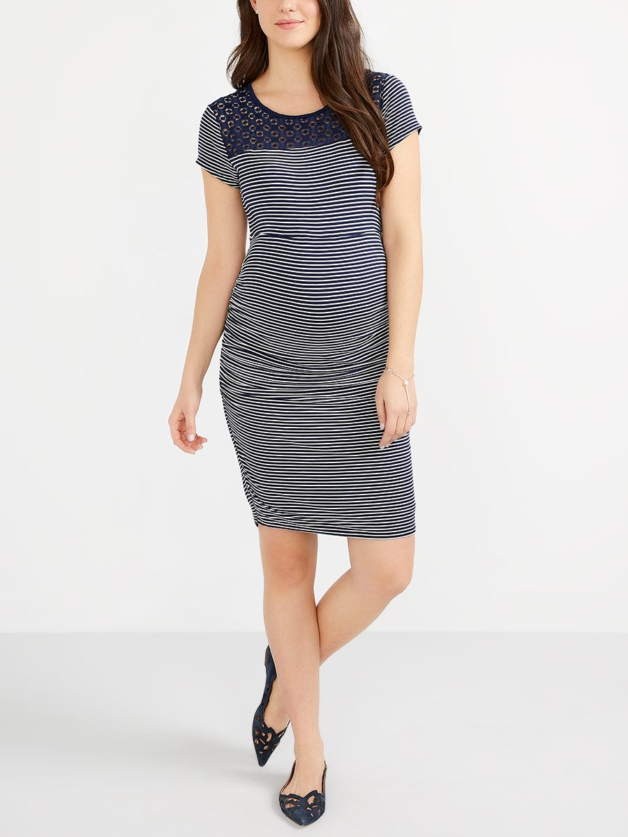 32efd928922aa Stork & Babe - Striped Maternity Dress with Crochet | Thyme Maternity