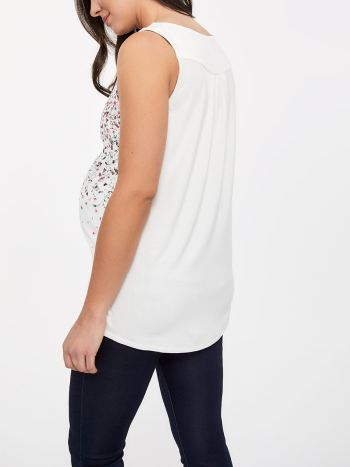 Printed Sleeveless Mix Media Nursing Blouse