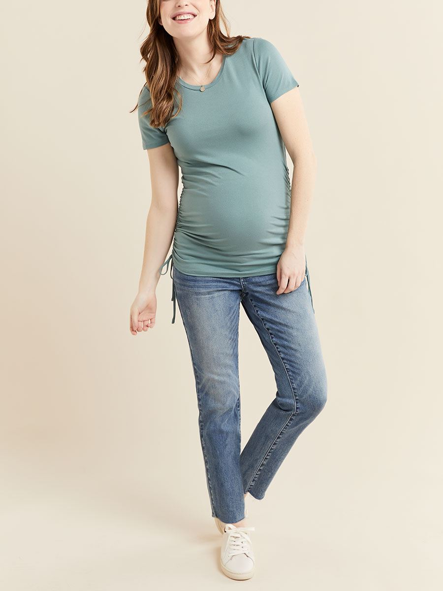 Short Sleeve Side Drawstring Maternity Top