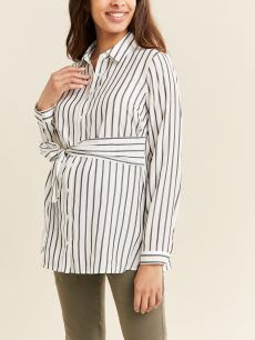 Striped Belted Maternity Blouse