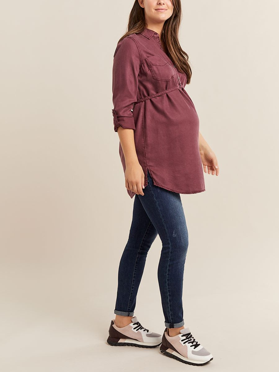 Belted Maternity Collar Blouse