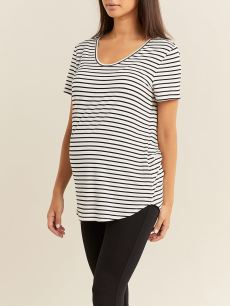 Striped Soft V-neck Maternity Top