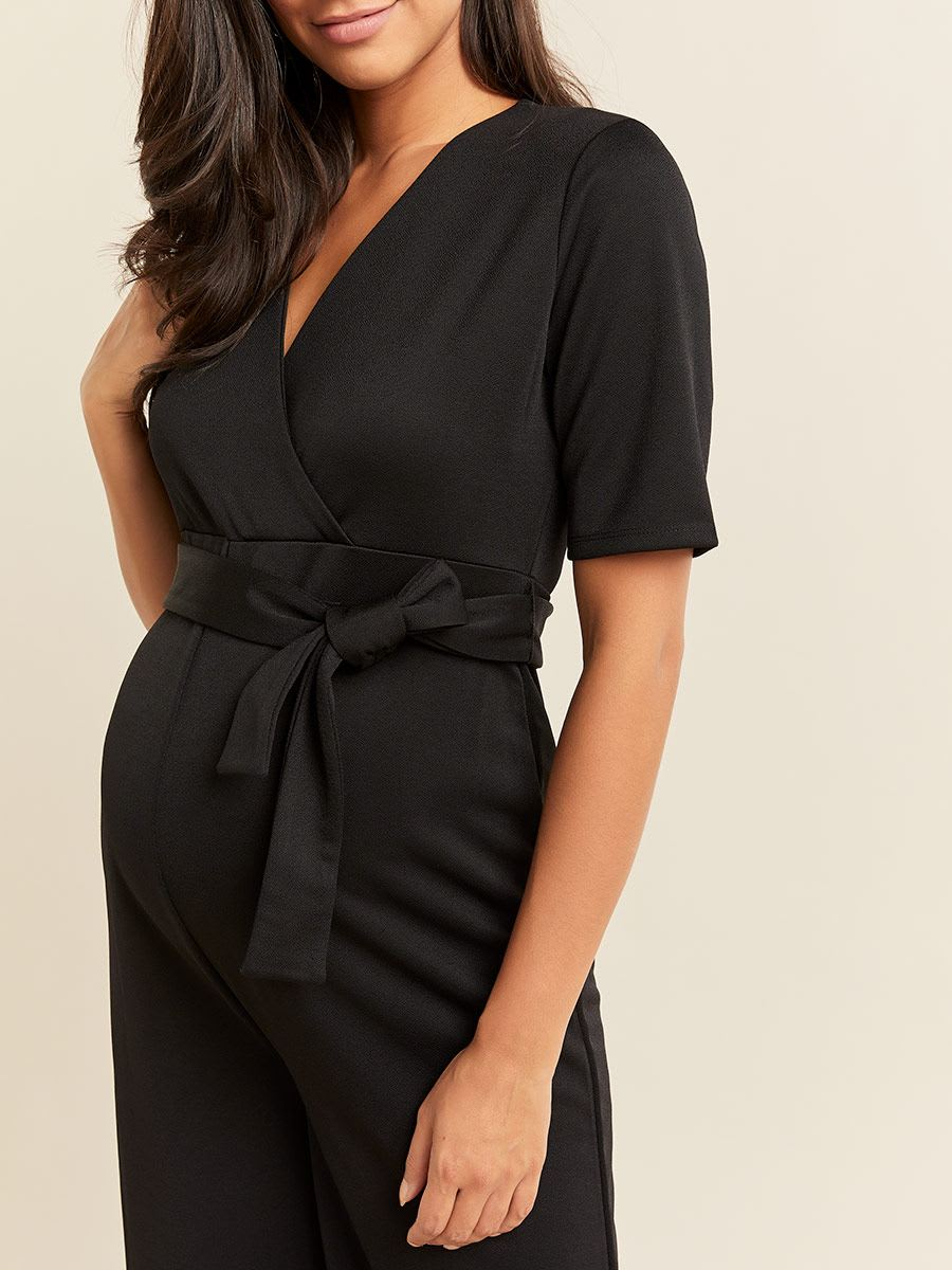 Belted Short Sleeve Wrap Maternity Jumpsuit