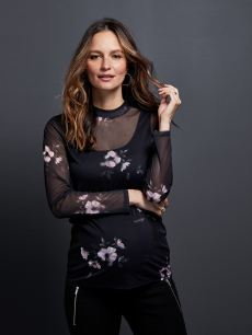 Stork & Babe - Printed Mesh Mock Neck Maternity Top