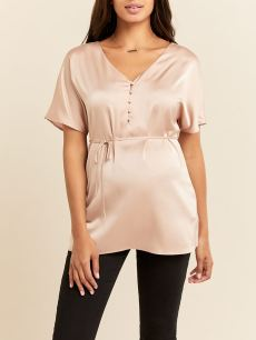 Stork & Babe - Satin Short Sleeve Maternity Blouse