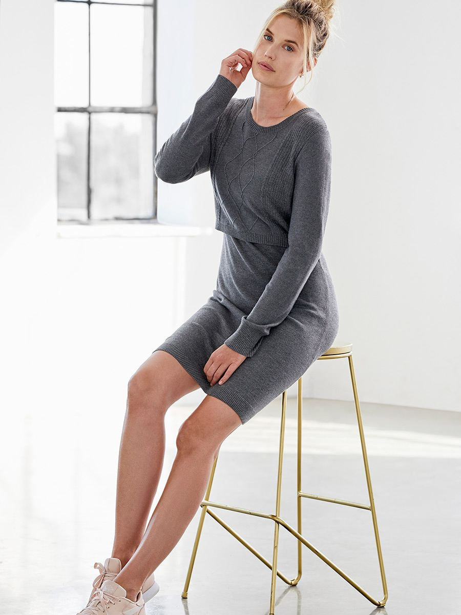 Long Sleeve Cable Nursing Sweater Dress