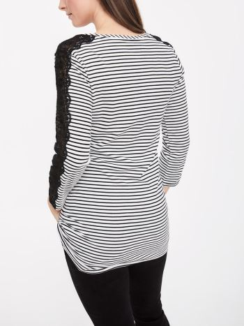 Stork & Babe - Printed 3/4 Sleeve Maternity Top with Embroidery