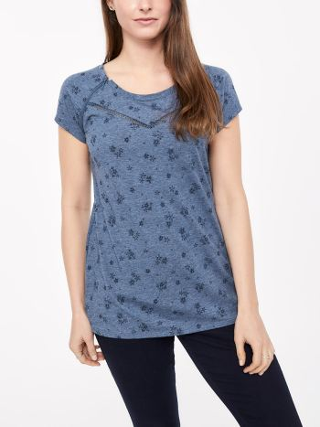 Printed Nursing Top with Zip and Embroidery