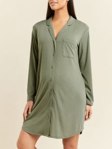 Ribbed Long Sleeve Maternity Nightgown