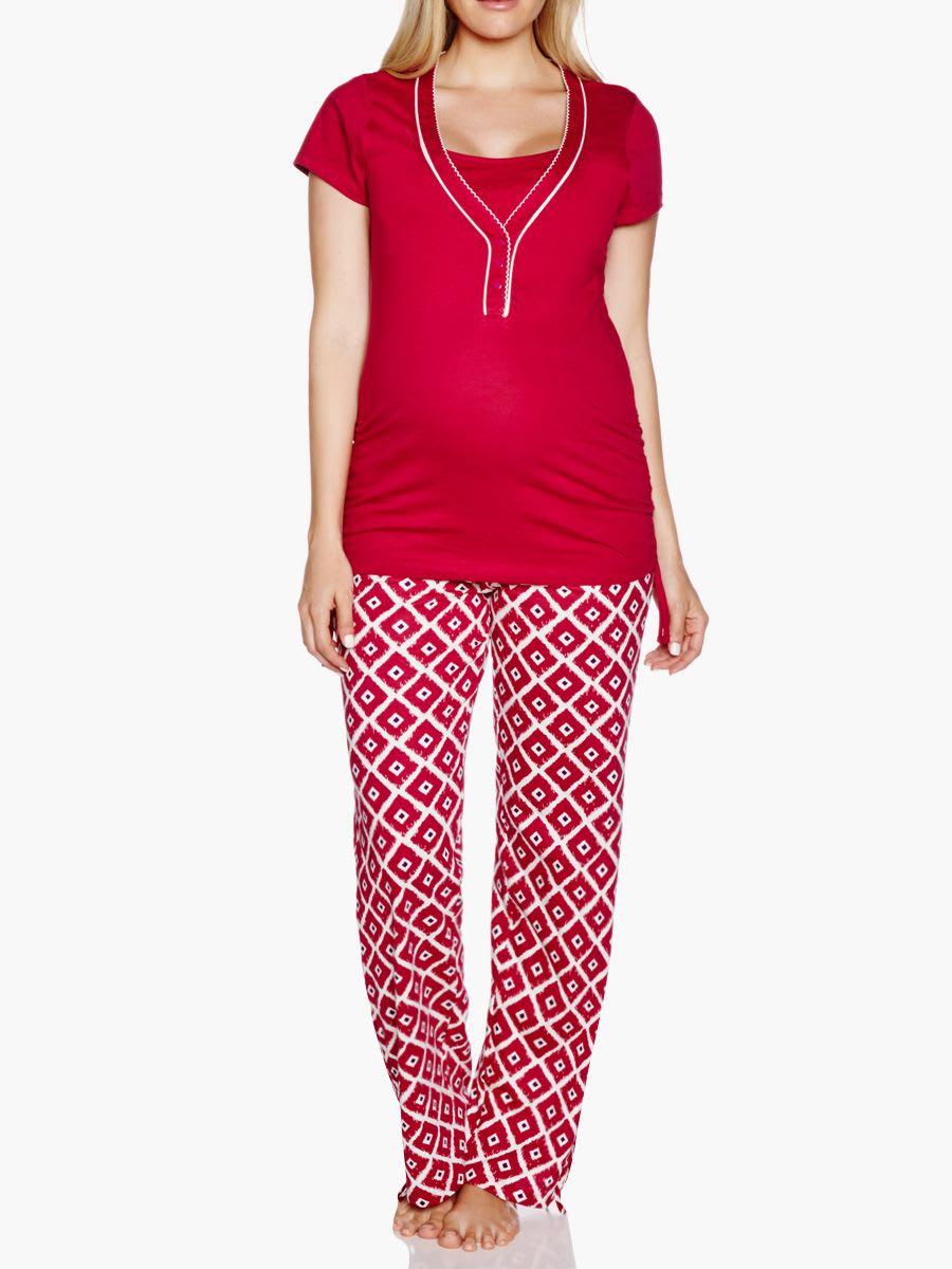 1f998cc6e3c51 2-Piece Nursing Sleepwear Set With Diamond Print   Thyme Maternity
