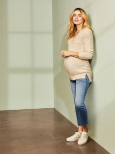 Long Sleeve Ottoman Stitch Maternity Sweater