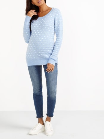 Long Sleeve Patterned Maternity Sweater