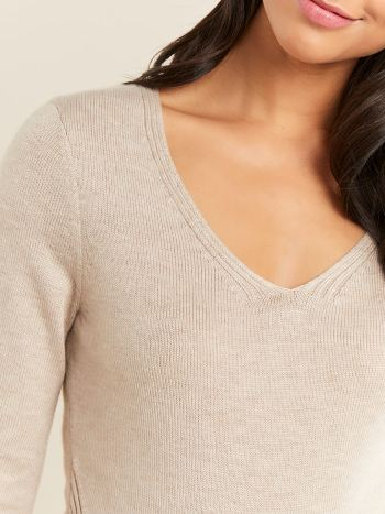 Long Sleeve Ribbed V-Neck Maternity Sweater