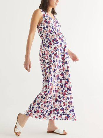 Printed Sleeveless Maternity Maxi Dress