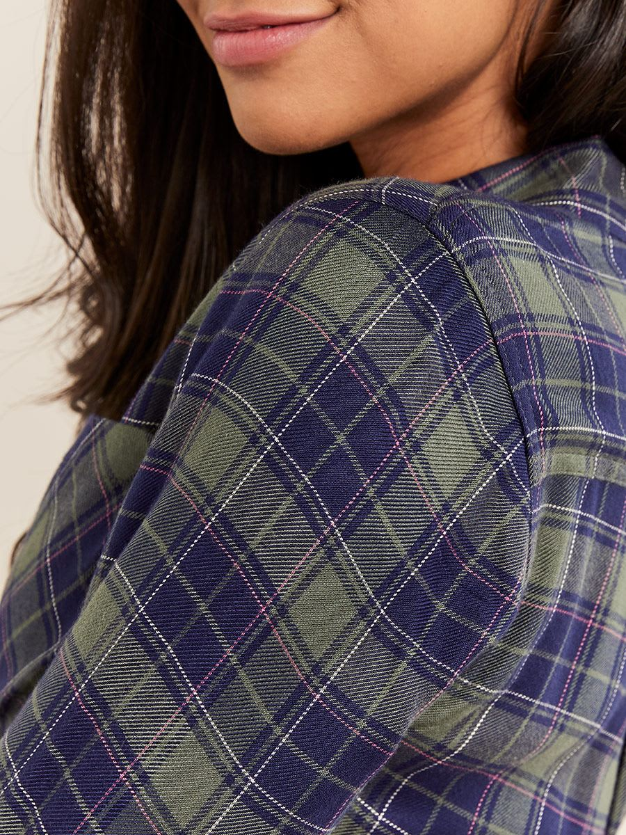 Plaid Maternity Collar Blouse