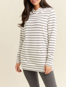 Striped Long Sleeve Hooded Nursing & Maternity Top