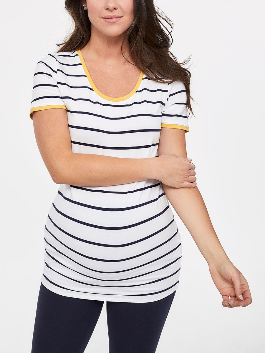Striped Cotton Short Sleeve Maternity T-Shirt