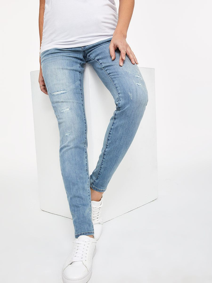 Regular Fit Skinny Leg Distressed Light Blue Maternity Jean