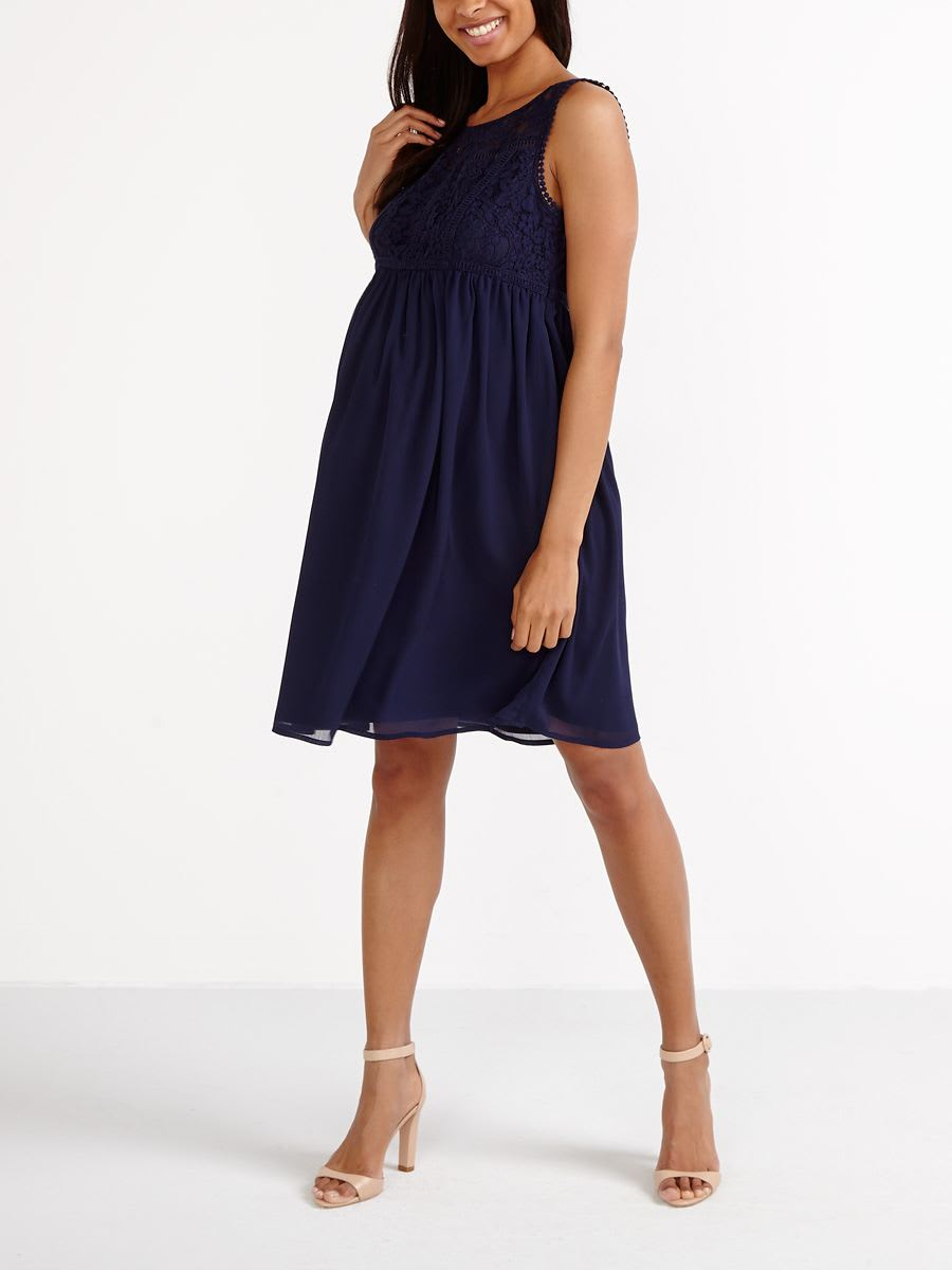 7d7fcd3e451 Stork   Babe- Fit And Flare Maternity Dress with Lace