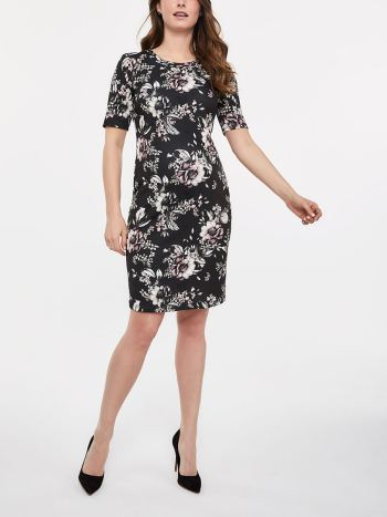 Printed Elbow Sleeve Scuba Maternity Dress