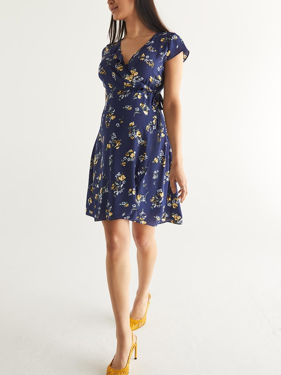 Floral Wrap Maternity Dress
