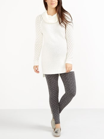 Seamless Patterned Fleece Maternity Legging