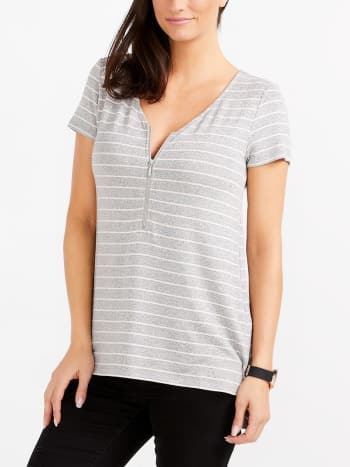 Short Sleeve Striped Nursing Top