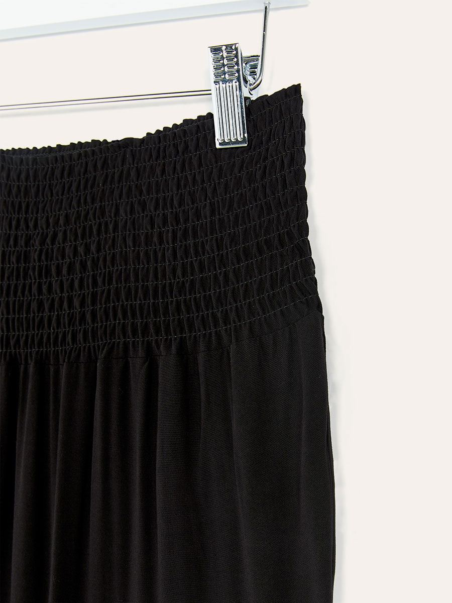 Black Maternity Pant with Smocked Waist