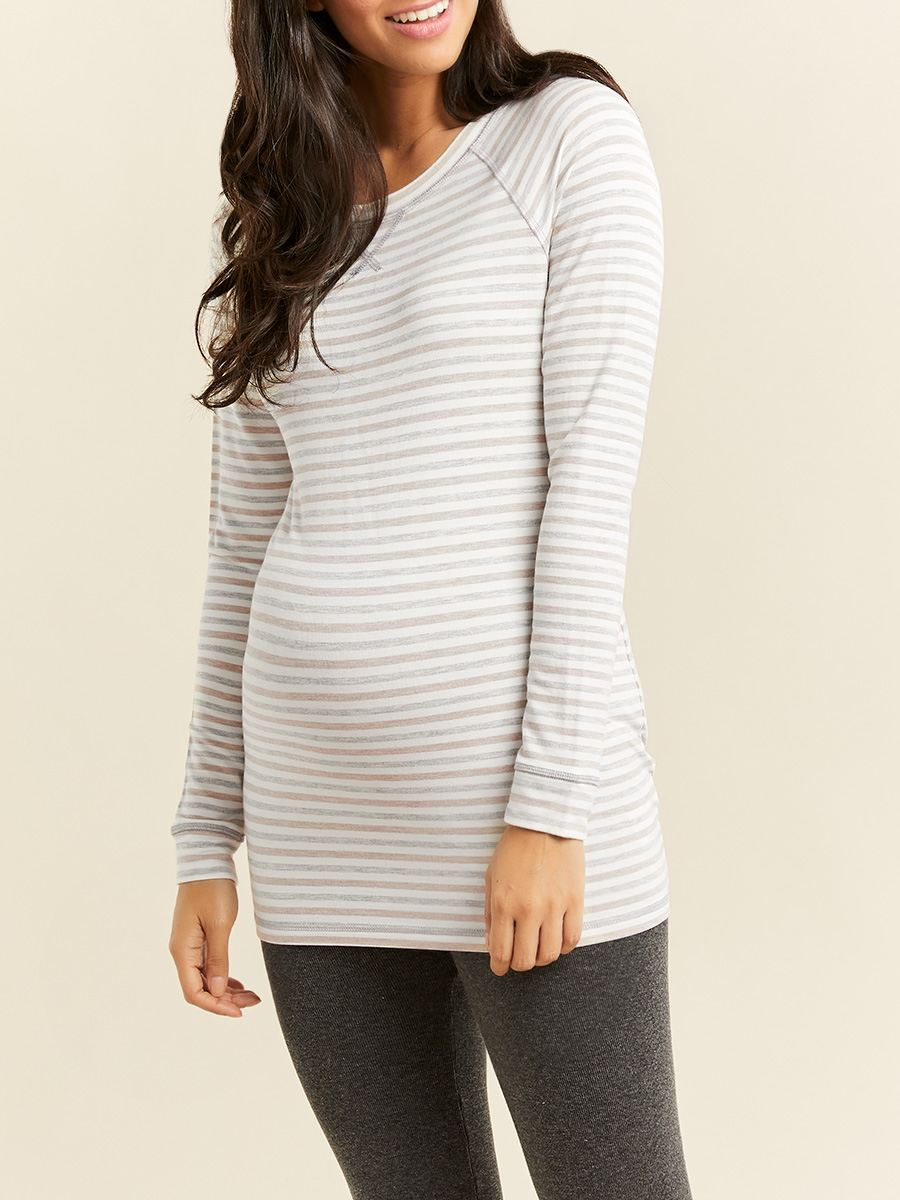 Striped Scoop Neck Maternity Top