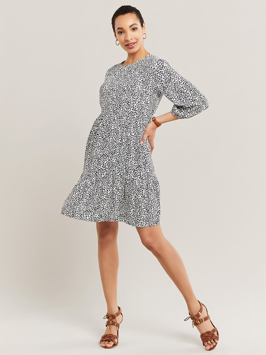 Black and White Printed Maternity Dress with 3/4 Sleeve