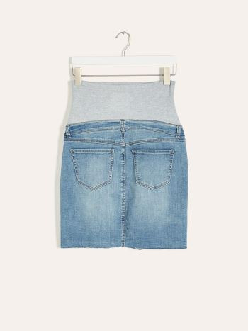 Mini Maternity Denim Skirt with Raw Hem