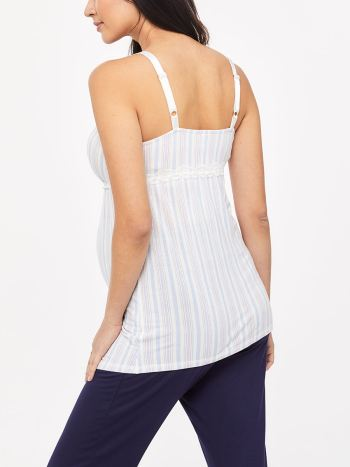Striped Sleeveless Nursing Pyjama Cami