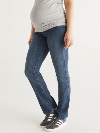 Medium Blue Bootcut Maternity Jean - Petite