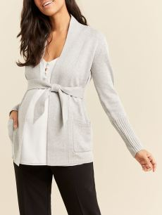 Stork & Babe - Long Sleeve Belted Maternity Cardigan