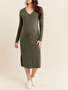 Long Sleeve Button-Up Maternity Dress