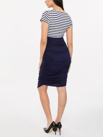Stork & Babe - Cap Sleeve Maternity Dress with Stripes