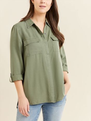 Long Sleeve Collar Nursing & Maternity Blouse