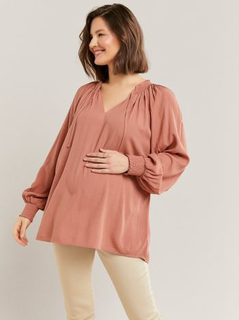 Maternity Blouse with Bubble Sleeve