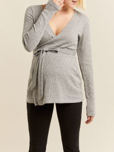 Soft Long Sleeve Maternity Wrap Top