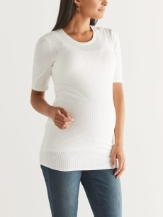 Crew Neck Ribbed Maternity Top