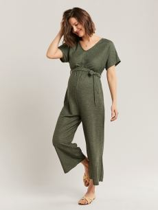 Green Short Sleeve Maternity Jumpsuit