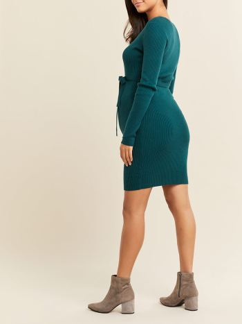 Ribbed Long Sleeve Maternity Sweater Dress