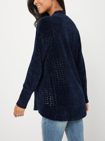 Long Sleeve Chenille Shawl Maternity Cardigan