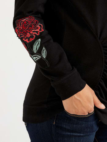 Stork & Babe - Maternity Sweatshirt with Floral Appliqué