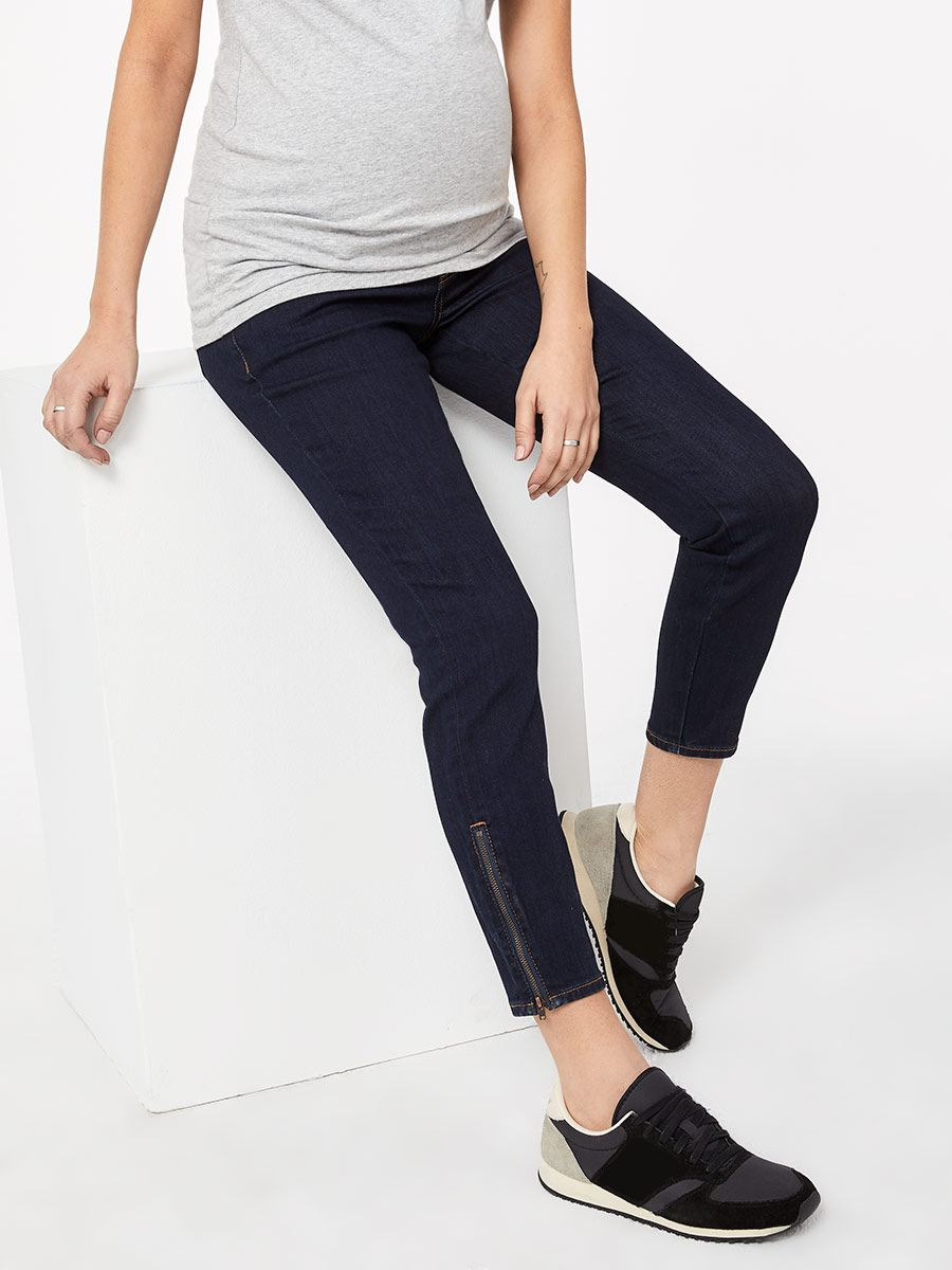 Dark Regular Fit Skinny Maternity Jean with Zips