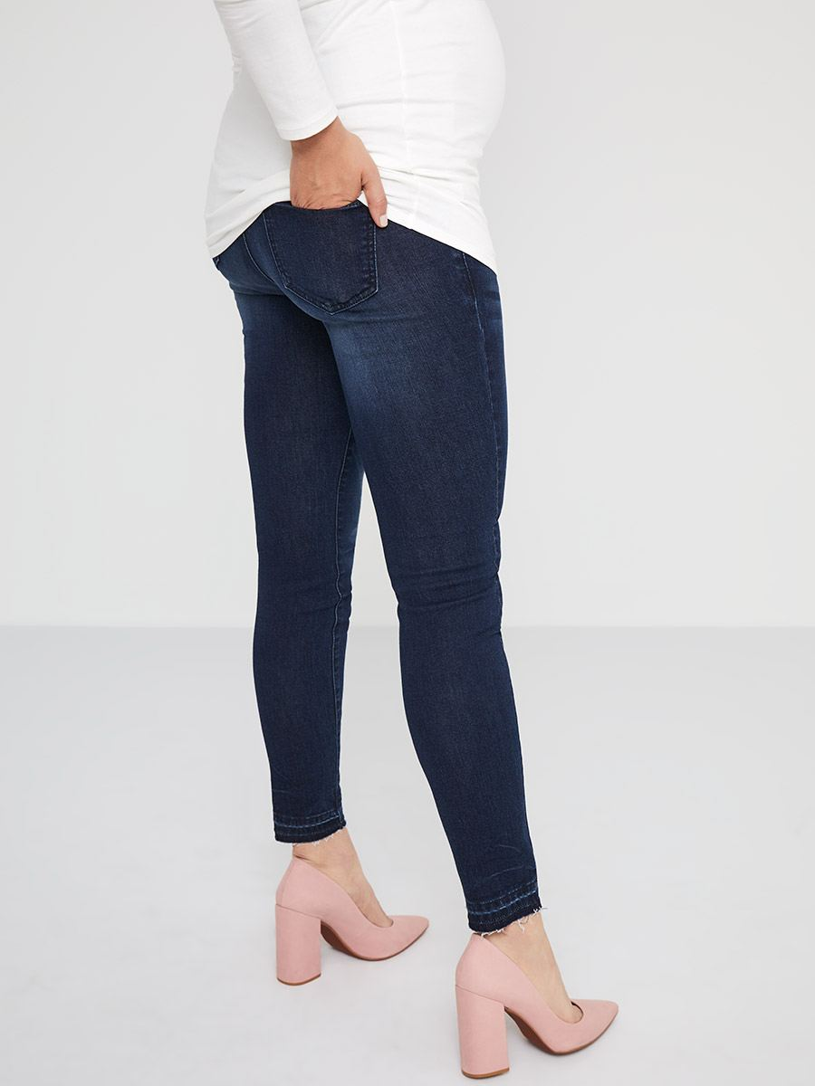 Dark Blue Distressed Super Skinny Maternity Jean