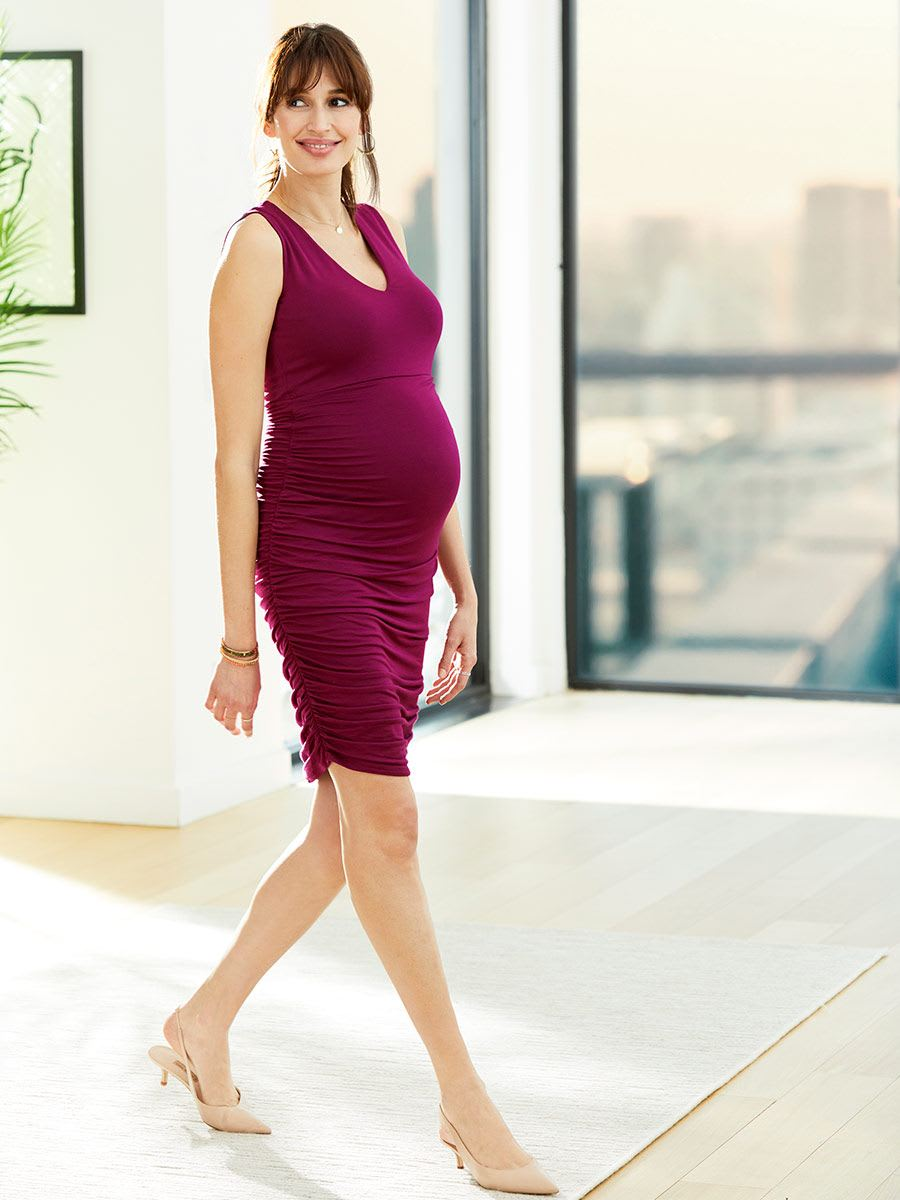 Stork & Babe - Shirred Sleeveless Maternity Dress
